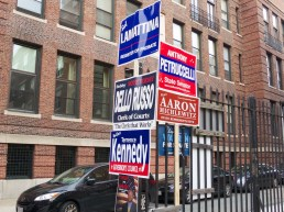 Campaign signs in the North End.