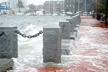 High tide during hurricane Sandy at Sargents wharf (NorthEndWaterfront.com photo)