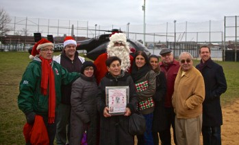 Pallotta Family with NEAA and Santa who arrived by helicopter.