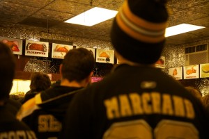 Bruins Fans in Mike's Pastry - Jan 2013 (Photo by Matt Conti)