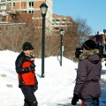 CNN reporting on the Blizzard of 2013 from Christopher Columbus Park (Photo by Matt Conti)