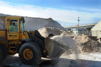 City Of Boston Department of Public Works prepare salt material to treat city streets before the expected snowfall arrives.  (DPW Photo)