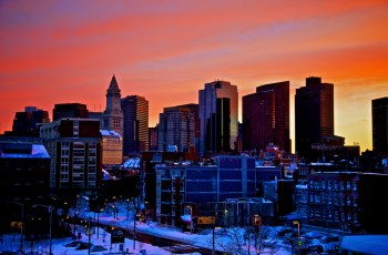 North End and Downtown Boston Skyline at Sunset - The Day After (Photo by Matt Conti)