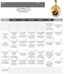 March 2013 Calendar Raffle - Saint Agrippina Society