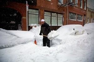 Shoveling out Battery St. (Photo by Matt Conti)