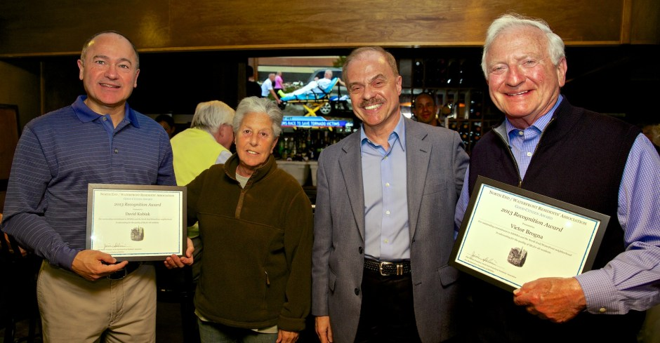 NEWRA Good Citizen Award Presented to David Kubiak (left) and Victor Brogna (right) by Marie Simboli and Jim Salini (1)
