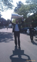 Zdeno Chara holding the Stanley Cup in the Union Wharf parking lot in 2011