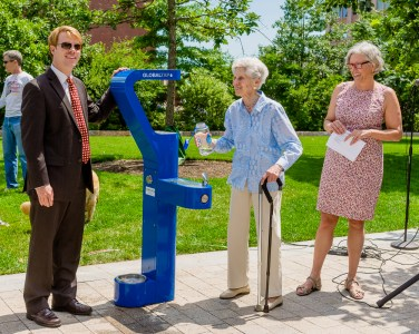 From the left, Greenway Conservancy Executive Director Jesse Brackenbury, Carousel donor Amalie Kass with Fountain donor, Christina Hecht.