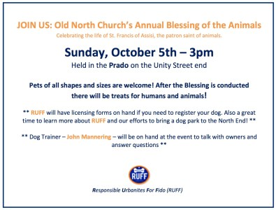 Blessing of the Animals Flyer 2014