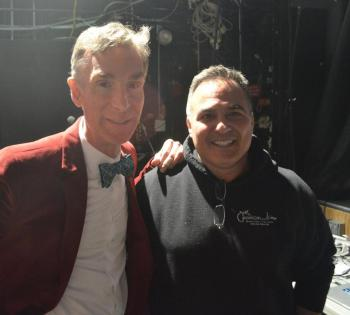Bill Nye and Paul Barker, photo from The Boston Globe