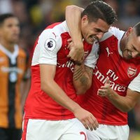 Xhaka and Lucas celebrate Arsenal goal