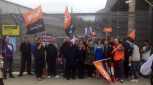 Francis O'Grady on the picket line (picture from Philip Lewis)