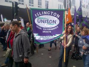 Islington Unison on the march (picture taken by Andrew Berry)