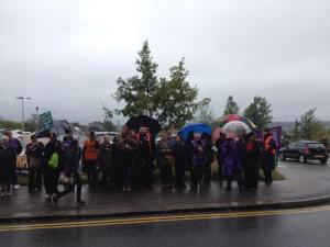 I said it was wet! A rainy Barnet picket line (photo from Janette Evans)