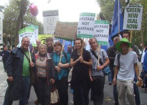 Greens on the march posing with leader Natalie Bennett
