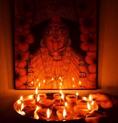 Diwali celebrated by worshiping goddess Kali