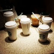 Coffee time. Many orders waiting. #coffeeplease #coffeetime #coffeefix #starbucks