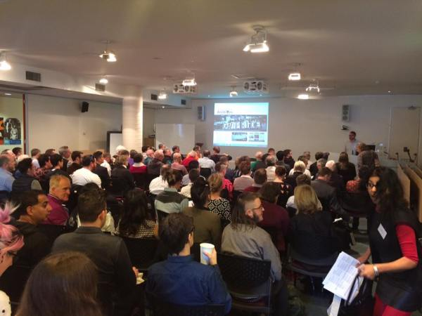 The crowd at the Homosexual Histories Conference, Day 1. Photo by Nick Henderson.