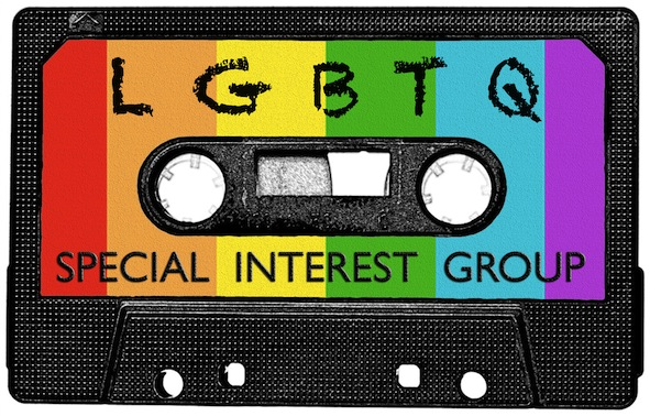 Cassette tape with rainbow label, reads 'LGBTQ Special Interest Group'