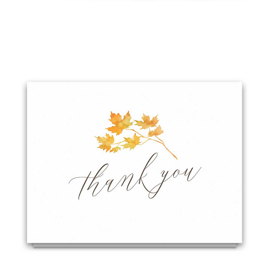 Tempting Rustic Wedding Thank You Notes Thank You Postcards Costco Thank You Postcards Free Fall Leaves Wedding Thank You Cards Watercolor Autumn Leaves Wedding Thank You Cards cards Thank You Postcards