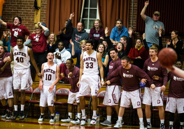 The Bates bench is excited about the conference season beginning. So should you. (Courtesy of Bates College)