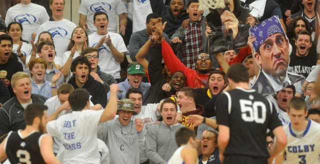 The Colby student section came out in force during parts of the season. (Courtesy of CentralMaine.com)