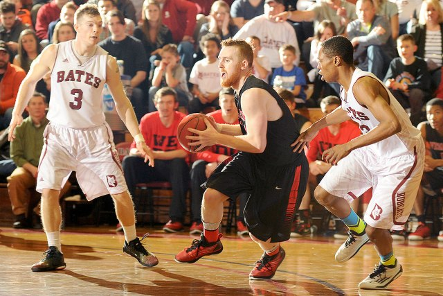 Mackey and the Cards pulled off the big upset against the Bobcats, despite poor shooting from the Wesleyan guards. (Courtesy of Daryn Slover for Bates College)