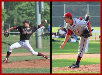 Nick Cooney '15 (left) and Gavin PIttore '16 (right) got a taste of the Cape League this summer on the heels of their 2014 success. (Courtesy of Wesleyan Athletics)