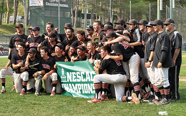 Wesleyan baseball celebrated its second-straight NESCAC title this season. (Courtesy of NESCAC Athletics)