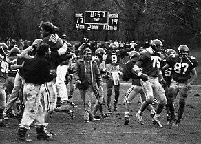 Williams clinched its first 8-0-0 season by defeating Amherst 17-14 in 1989. The reported attendance of 13,671 is the largest ever recorded for a D-III football game in New England. The first Biggest Little Game was played in 1884 and has been played every year since. (Courtesy of Williams Athletics)