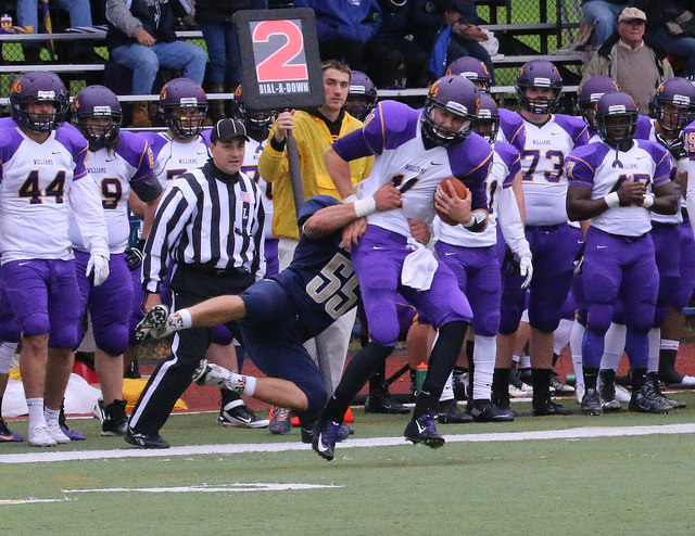 QB Austin Lommen '16 and the Ephs could find no room to operate against the Bantams last weekend. (Courtesy of Robert LeBel)