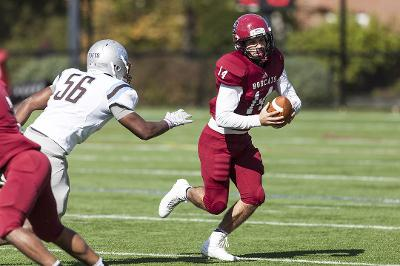 Shane Thomas '17 (56) is emerging as a force, leading the Jumbos in tackles. (Courtesy of Josh Kuckens/Bates College)