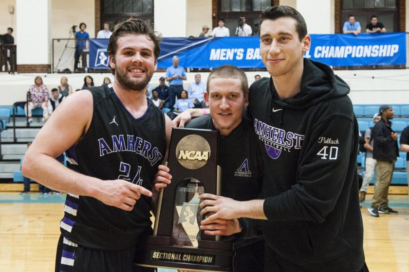 Amherst seniors Connor Green '16, Ray Barry '16 and Ben Pollack '16 celebrate their third Sectional title of their careers. (Courtesy of Alonso Nichols/Tufts Photos)