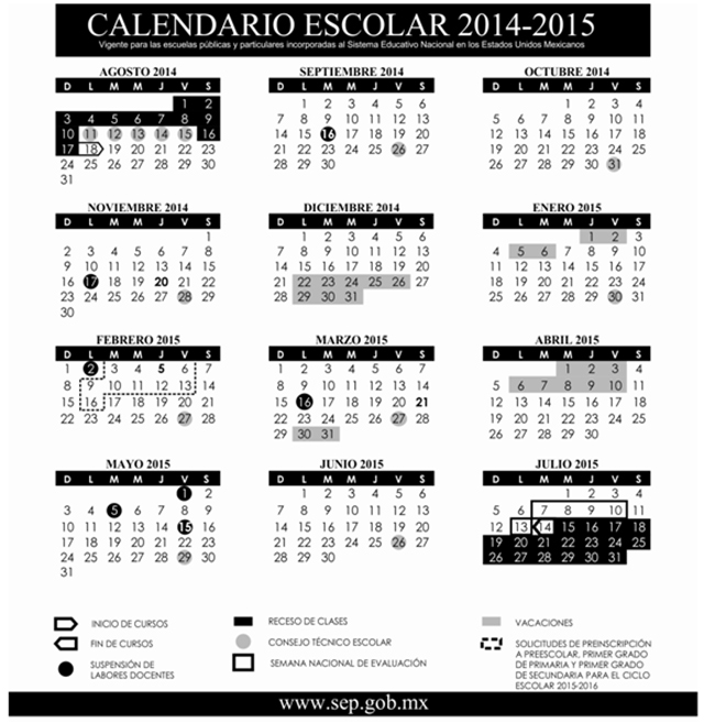 Difunde SEP calendario escolar 2014-2015