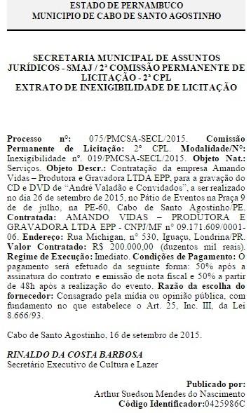 diario oficial cabo de santo agostinho - andre valadao