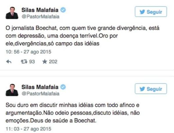 twitter pastor silas malafaia depressão ricardo boechat