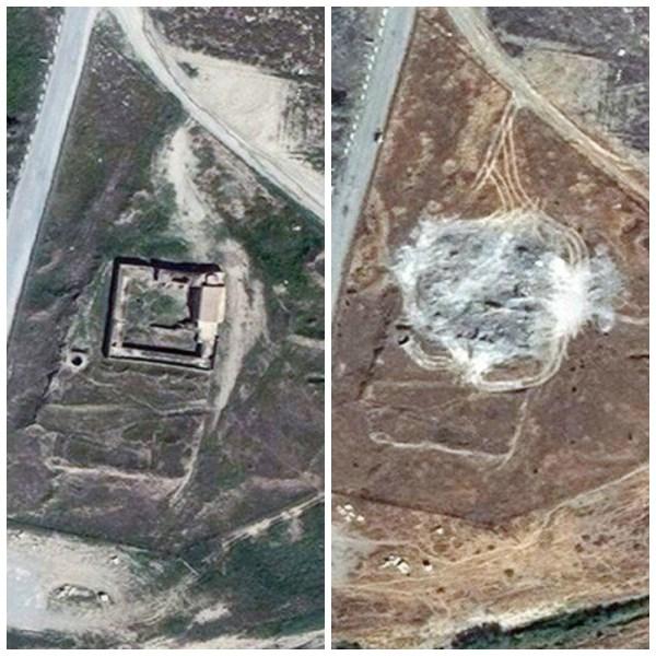 À esquerda, em 2014, mosteiro ainda estava de pé; Agora, em 2016, só ruínas
