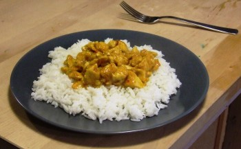 Sweet Chicken Curry served on a bed of rice