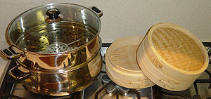 Two types of steaming utensils
