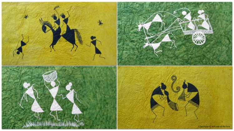 Warli painting on handmade paper