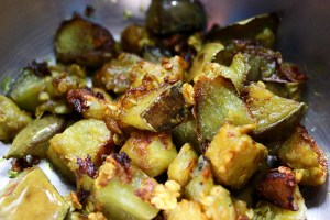 Fried eggplant pieces