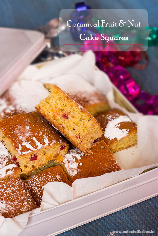 Cornmeal Fruit & Nut Cake Squares