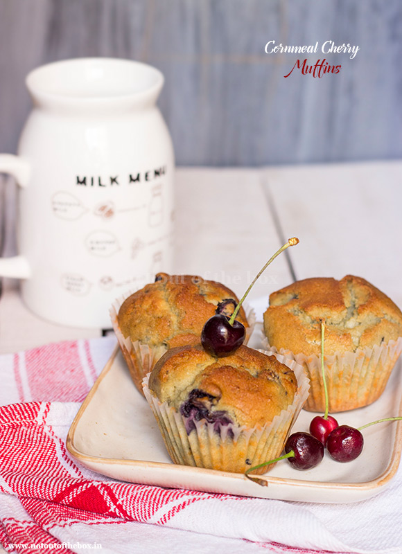 Cornmeal Cherry Muffins | Not Out of the Box