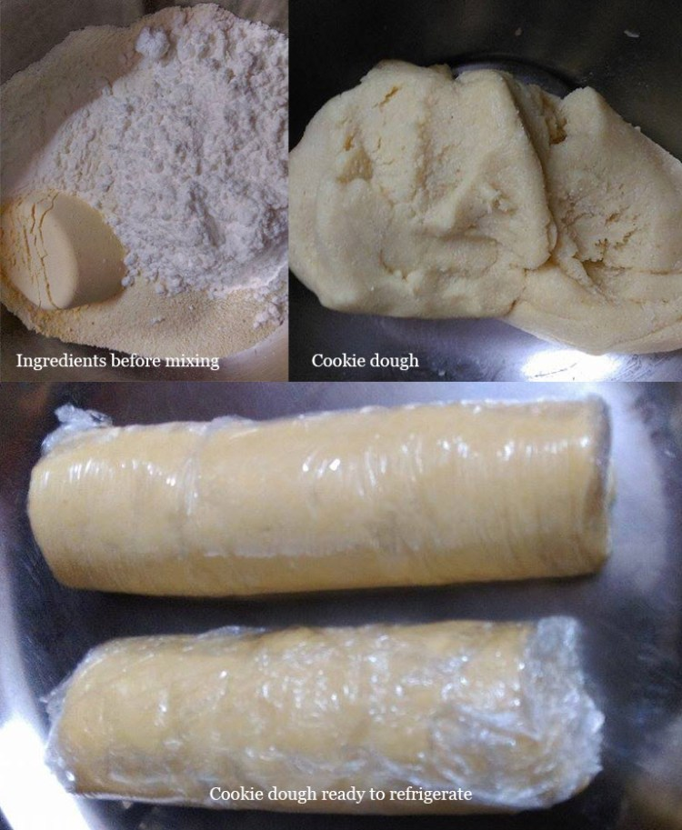 Steps for making and freezing the cookie dough