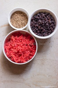 Flax seeds powder, Currants, Grated carrot