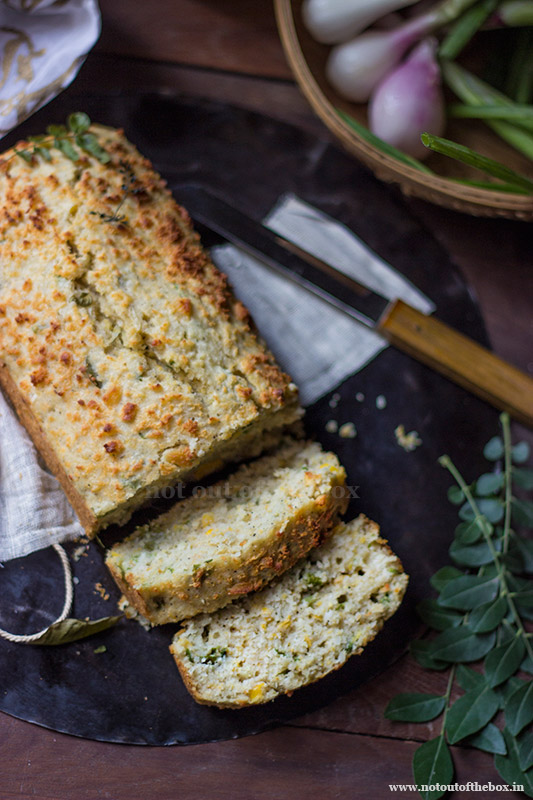 Cheese Sweet Corn Bread (with coconut & curry leaves)