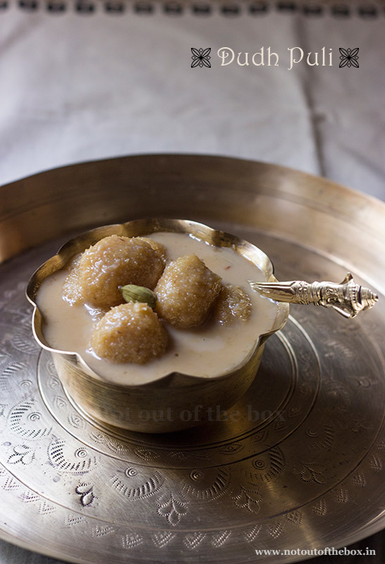 Dudh Puli/Semolina-Coconut dumplings in Sweet Milk