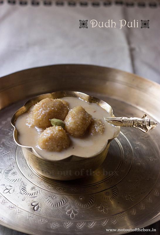 Dudh Puli/Semolina-Coconut dumplings in Sweet Milk