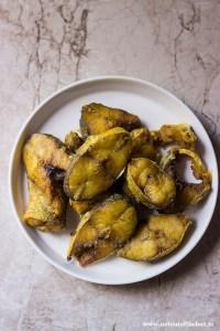 Shallow fried Gurjali fish pieces