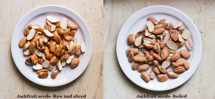 Jackfruit seeds before and after boiling